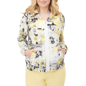Print Zip-Front Smocked Jacket