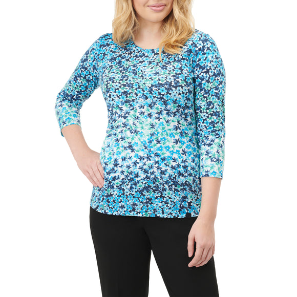 Turquoise Floral Print Shirt 3/4 Sleeve - Plus Sizes