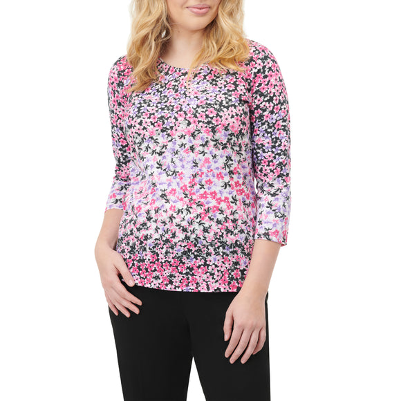 Pink Floral Print Shirt 3/4 Sleeve - Plus Sizes