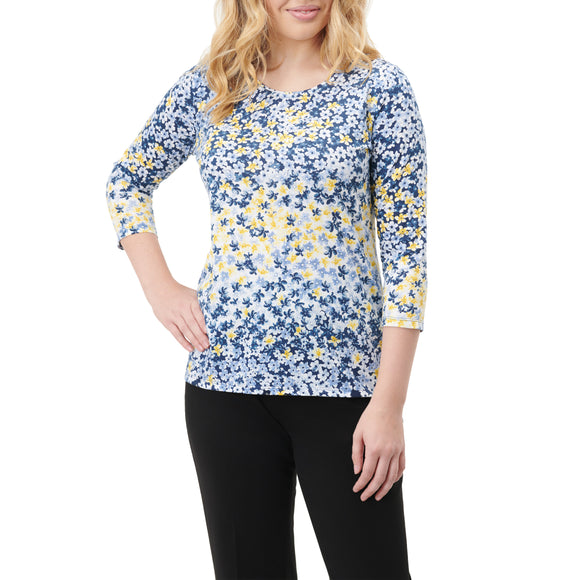 Yellow Floral Print Shirt 3/4 Sleeve - Plus Sizes