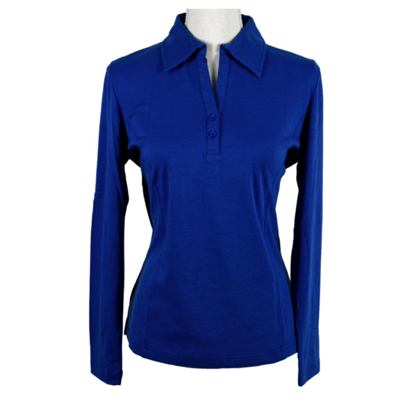 Polo Shirt, Long Sleeves, Vibrant Blue