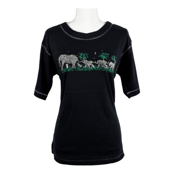 T-Shirt, Black, Elephants