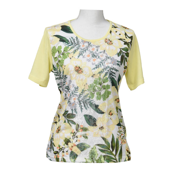 Lined Short Sleeve Shirt with Yellow Floral Mesh