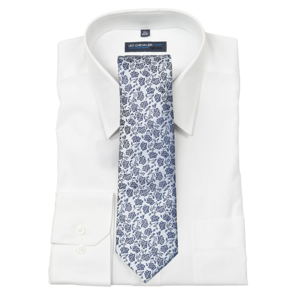 Tie with Pocket Square in Light Grey with Blue