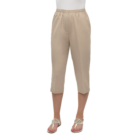 Twill Pull-On Capris in Light Khaki