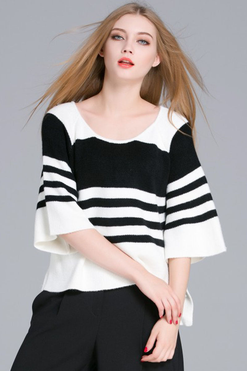 Ellady Black&White Striped Sweater