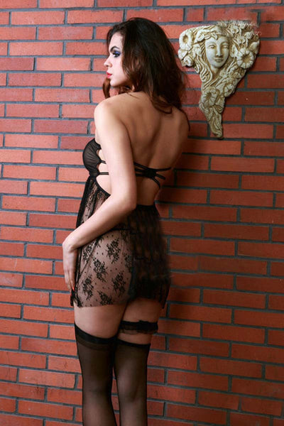 Ellady Black Lace Halter Open Back Lingerie