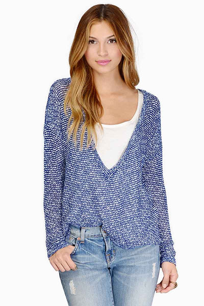 Ellady Blue Chic V-neck Drop Shoulder Top