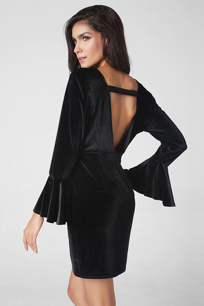 Ellady Black Flare Sleeve V Back Dress
