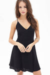 Ellady Black Lace Up Back Chiffon Dress