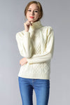 Ellady Classic Ribbed Cable Turtleneck Sweater