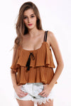 Ellady Cute Fold Falbala Sleeveless Top