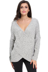 Ellady Grey Deep V Cross Front Sweater