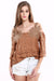 Ellady Khaki Cold Shoulder Hollow Out Top