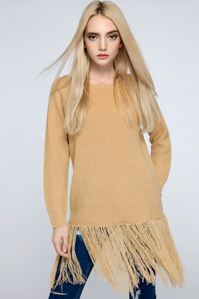 Ellady Long Sleeve Solid Color Tassel Sweater