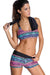 Ellady Multicolor Sports Bra Tankini with Black Vest