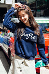 Ellady Navy Blue Letters Spliced Sweatshirt