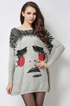 Ellady Oversized Chic Print Sweater