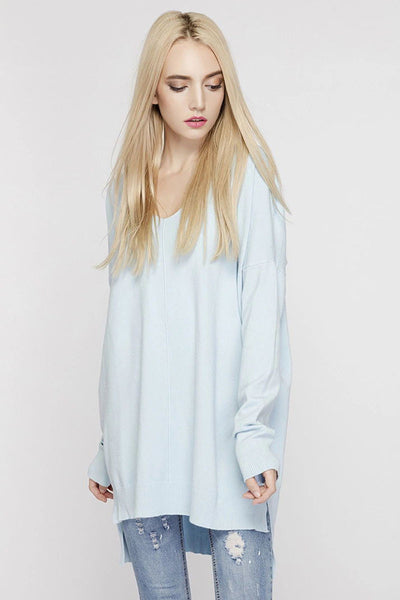 Ellady Oversized Solid Color High-low Long Knit Top