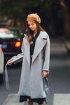 Ellady Solid Color Woolen Long Coat with Belt