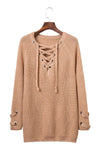 Ellady V Neck Long Sleeve Lace Up Sweater