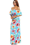 Ellady Turquoise Floral Off-the-shoulder Maxi Dress