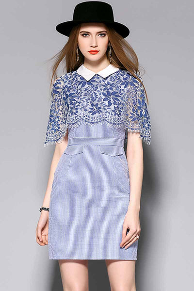 What A Treat Lace Striped Dress