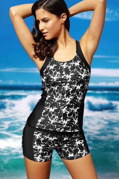 Ellady Black Flower Print Tankini Bathing Suit