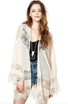 Ellady Apricot Hollow Lace Trim Kimono Cover Up