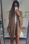 Ellady Khaki Long Sleeve Solid Color Cardigan