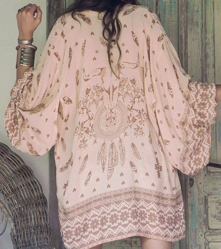 Ellady Multicolor Print Long Sleeve Beach Kimono