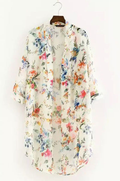 Ellady Floral Chiffon Bikini Cover Up