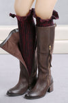 Ellady Wine Red Long Boot Cuffs With Trim