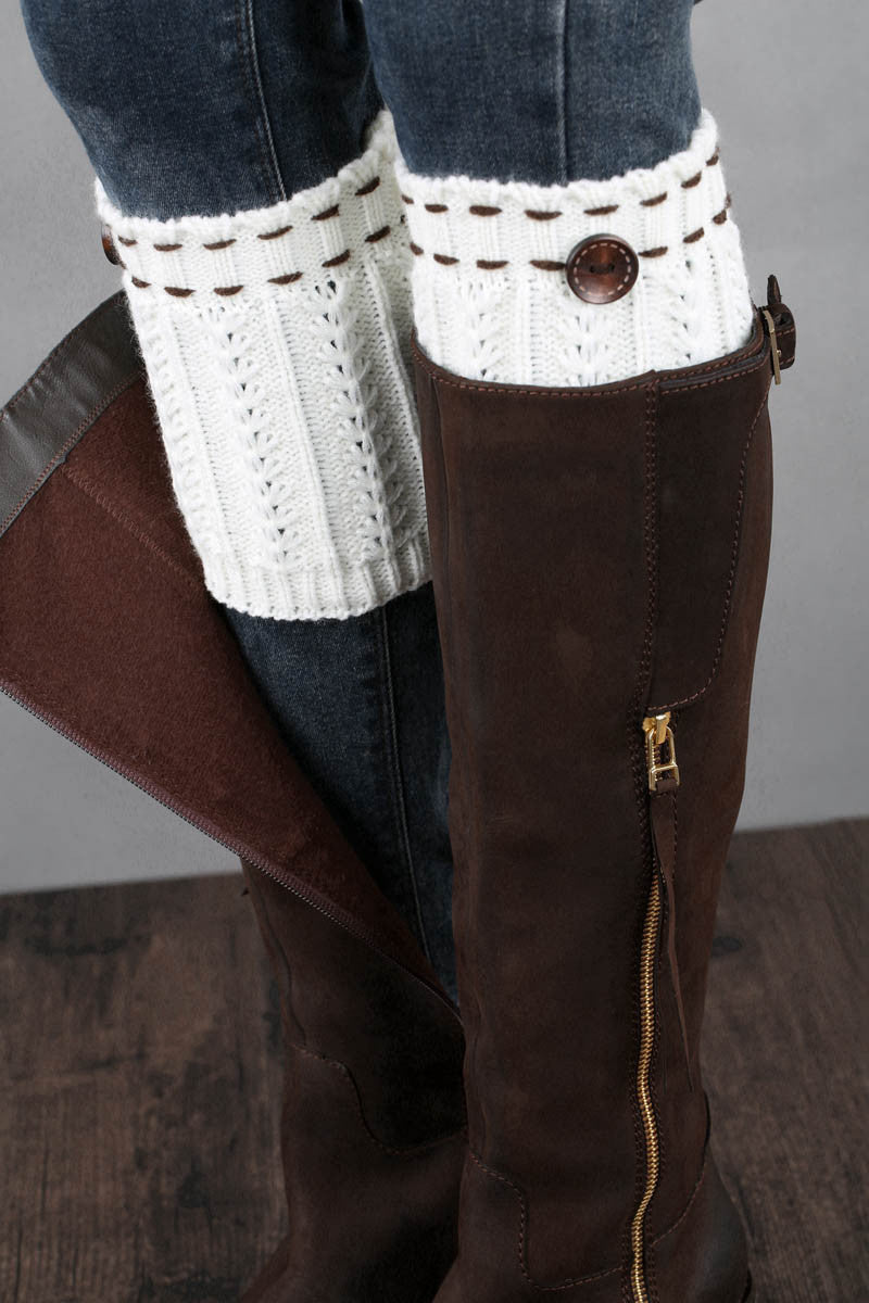 Ellady Boot Knit Cuffs With Buttons