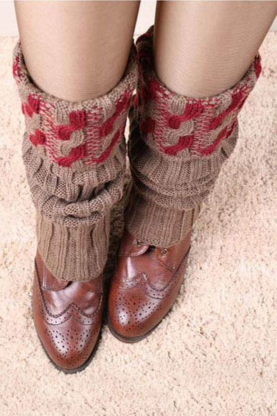 Ellady Chic Burgundy Cable Knit Boot Cuffs