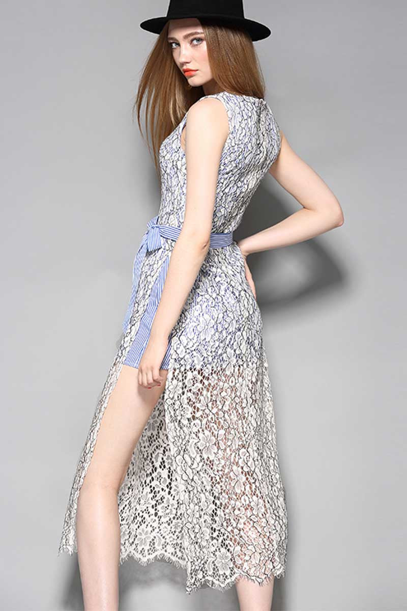 Caught My Eye Split Lace Dress