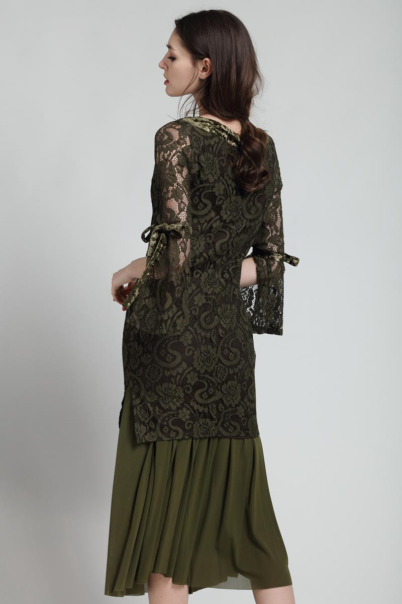 Dark Green Two Piece Midi Lace Dress