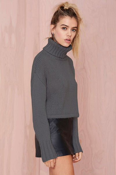 Ellady Dark Grey Long Sleeved Knitted Loose Sweater