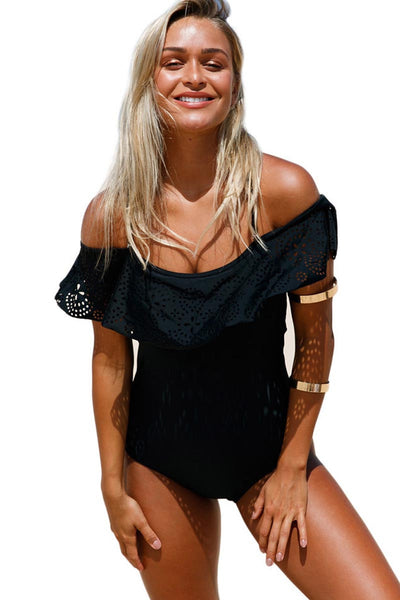 Ellady Black Off Shoulder One Piece Swimsuit