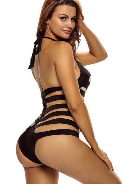Ellady Black Ribbed Cutout Monokini