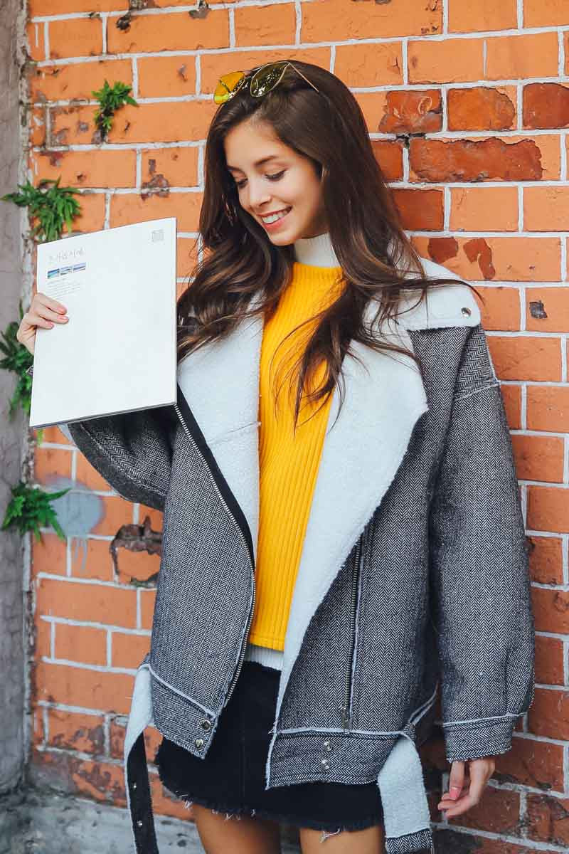 Ellady Casual Grey Lapel Pockets Warm Coat