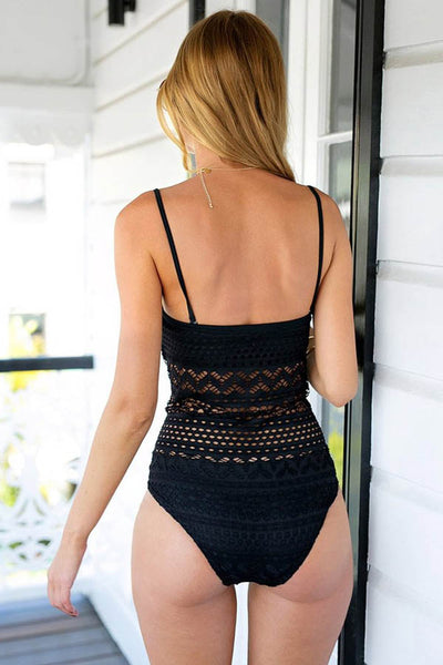 Popkini Crochet Halter One Piece Swimsuit