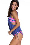 Ellady Denim Blue Layered Striped Tankini