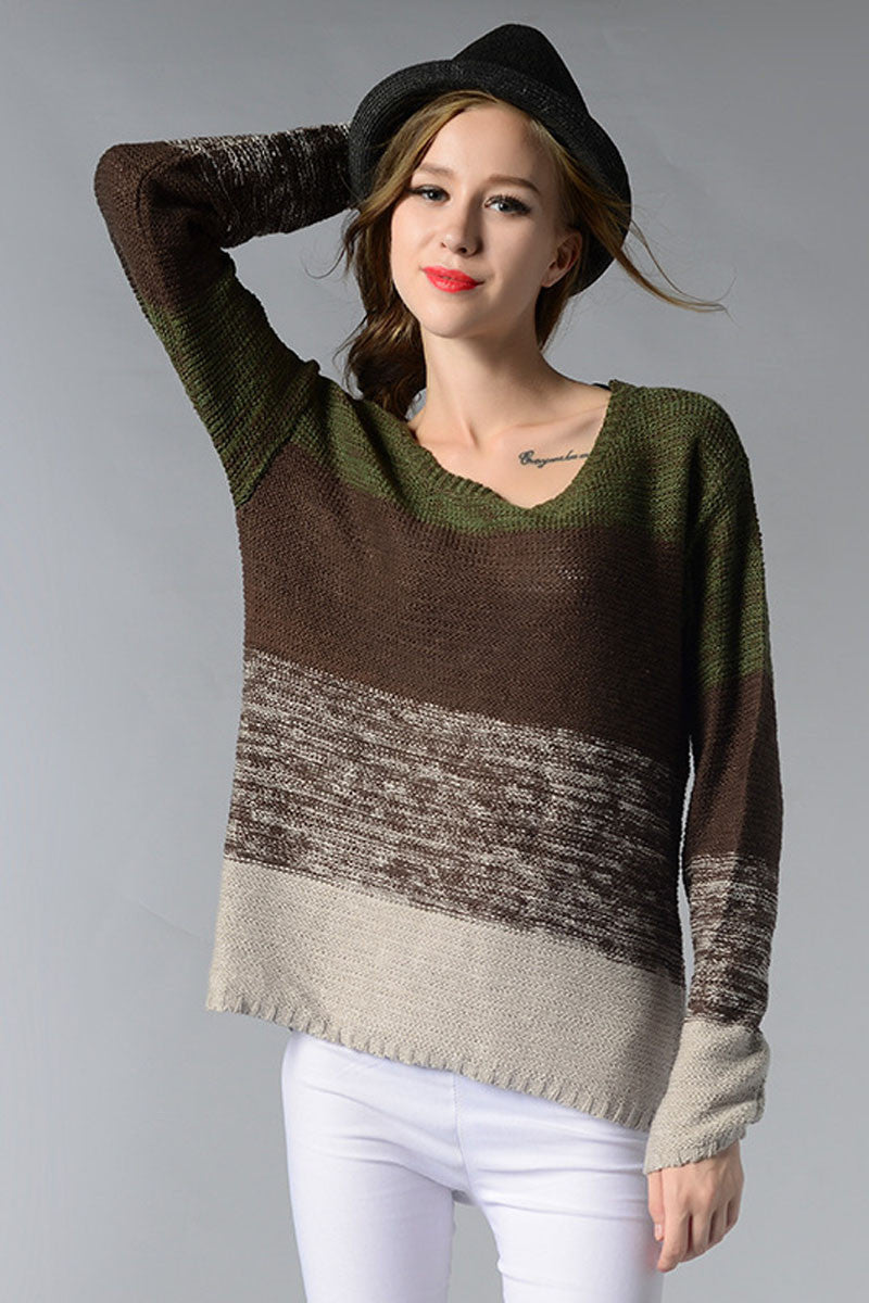 Ellady Gradient Striped Round Neck Sweater