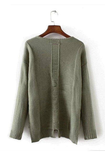 Ellady Green High Low Loose Sweater