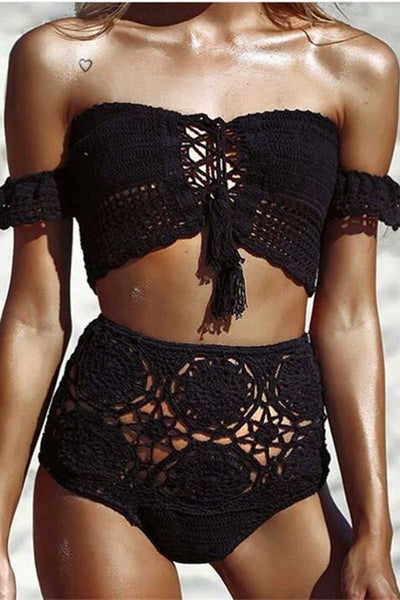 Ellady Off The Shoulder Crochet Bikini