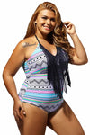 Ellady Plus Size Fringe One-piece Swimsuit