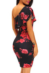 Ellady Red Rose One Shoulder Dress