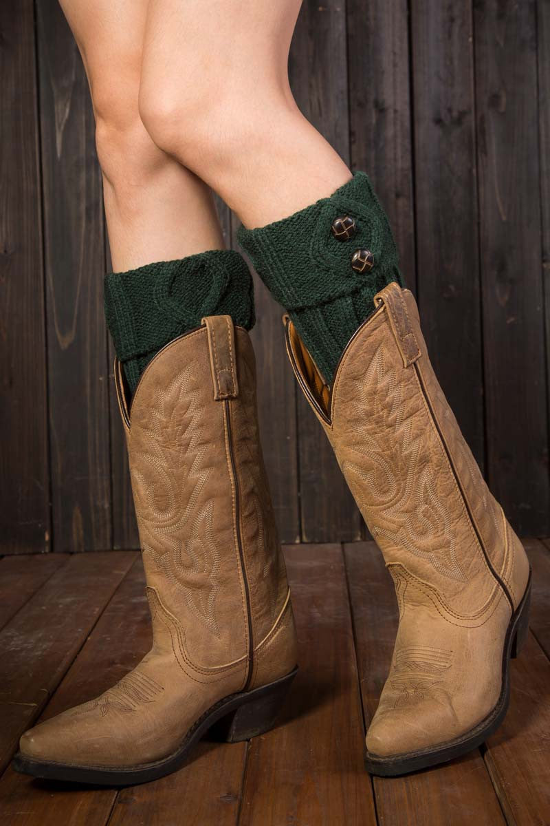 Ellady Solid Color Two Button Knit Boot Toppers