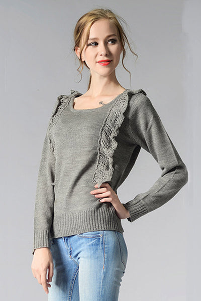 Ellady Sweet Trim Grey Round Neck Sweater